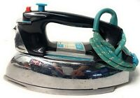 Vintage GE Power Spray Steam & Dry Iron - Black Turquoise Chrome RARE Americana