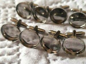 8pcs (4 Pairs)  16mm Gunmetal Cufflink Settings  Pad Cuff Links