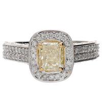 18k Gold Fancy Yellow 3.00 Carat Radiant Cut Diamond Engagement Ring