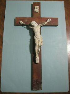 antico crocifisso in legno e gesso - da appendere