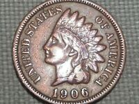 Nice Grade and Details Old US Copper Indian Head Penny 1 Cent 1906
