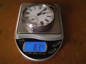 Antique Swiss Open Face Key Wind Bear Rampant Hallmark 935 Silver Pocket Watch