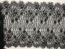 3m x 300mm Black Floral Lace Trim Single Scalloped Edge Eyelash Mesh Trimming