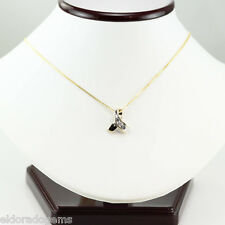 "0.50 CT. SI2-H DIAMOND PENDANT 16"" WHEAT CHAIN 14K YELLOW GOLD NECKLACE ITALY"