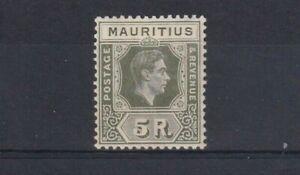 MAURITIUS 1938 5 Rupee Olive-Green Chalk Paper SG 262 VLMM but Toned Gum
