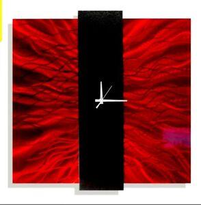 Metal Wall Clock  Modern Art Red Home, Office Decor Contemporary Clock Jon Allen