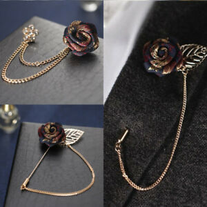 Vintage Rose Brooches Tassel Chain Men Women Suit Collar Brooch Broche Lapel Pin
