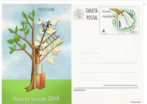 ESPAÑA 2010 TARJETA ENTERO POSTAL EDIFIL 183 VALORES CÍVICOS RECICLAJE NUEVA MNH