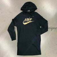 NWT Nike AA2297-010 Women's NSW Sportswear Hoodie Dress Metallic Black Size M