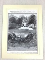 1914 Stampa Originale WW1 Tedesco Siege Di Belgio Independence Statua Guerra