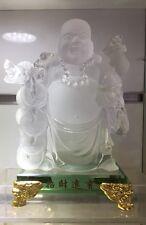 Clear Buddha On Clear Crystal Base Feng Shui Good Luck Money (11x11x19cm H)