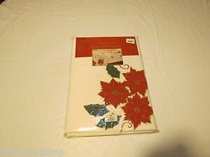Seasons applique embroidered tablecloth Christmas 70' round 178CM IVY 1837 NEW