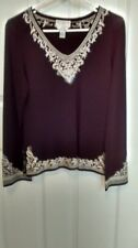 Talbots Collection Elegant  Black Sequin & Embroidery V-Neck Tunic Knit Top SZ S