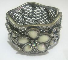 Lovely silver tone metal cuff style bracelet hinged flower white stone heavy