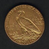 U.S.A. 1908 Gold 5 Dollars - Half Eagle..  gEF - Part Lustre