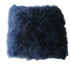 "Navy Blue Mongolian Sheepskin Fur Cushion Pillow 16"" 40cm Tibetan Lambskin"