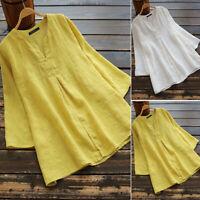 ZANZEA Women V Neck Long Sleeve Blouse Shirt Vintage Casual Baggy Cotton Tops US