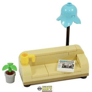 Sofa Furniture Living Room/Lounge - Lamp, Plant Newspaper & Mug   All parts LEGO