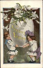 Easter - Kids & Giant Egg - Charles Twelvetrees c1910 Postcard