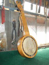 """Vintage La Pacific Antique 4 String 21"""" Small Banjo Ukulele Unique  birds eye"""