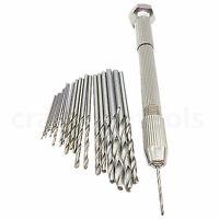 25pcs Twist Micro Drill Bits W/ Pin Vise Swivel Head 2 Chuck 4 Sizes Hand Drill