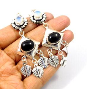 Black Onyx .925 Silver Plated Handmade Earring Jewelry MJC9619