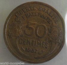 50 centimes morlon 1937 : TTB : pièce de monnaie française