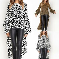 Women Leopard Printed Asymmetric T-Shirts Hem Plain Lantern Sleeve Tops Blouse