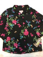 NWT TANJAY WOMENS S/P 3/4 sleeve button down blouse shirt top FLORAL print