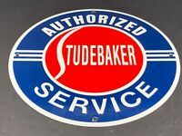 "VINTAGE STUDEBAKER CAR & TRUCK SERVICE 11 3/4"" PORCELAIN METAL GASOLINE OIL SIGN"