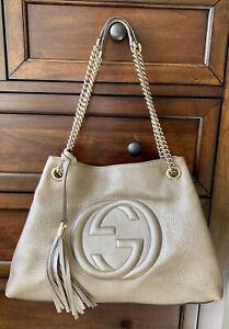 GUCCI Metallic Gold Pebbled Calfskin Leather Medium Soho Chain Bag