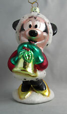 Disney Mickey Minnie Mouse European Style Glass Blown Christmas Ornament Boxed