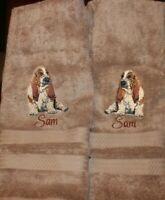 Basset Hound Dog Breed Bathroom SET OF 2 HAND TOWELS EMBROIDERED PERSONALIZED
