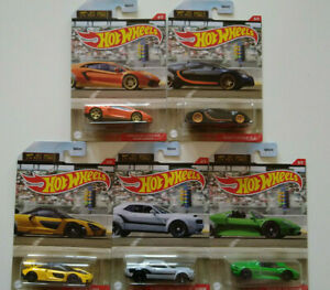 Hot Wheels Série 1/4 Mile Finals Bugatti McLaren Dodge Porsche lot de 5 (cart)