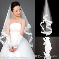 1T White Ivory Wedding Bridal Veil Fingertip Length Lace Edge