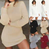 New Women Winter Autumn Long Sleeve Bodycon Knit Party Jumper Sweater Mini Dress