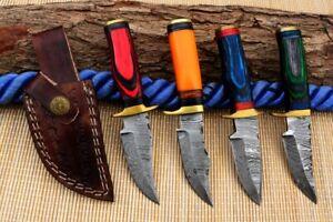 """6"""" MH KNIVES CUSTOM HANDMADE DAMASCUS STEEL LOT OF 4 HUNTING/SKINNER KNIFE LOT8"""