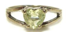 EBSON 10K WHITE GOLD LIGHT GREEN GEMSTONE HEART WOMENS RING BAND SIZE 5.75