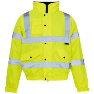Yellow Bomber Jacket Storm Flex High Visibility Supertouch Work Coat Small