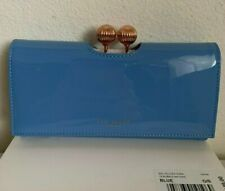 NWT in Box Ted Baker London Bobble Matinee Patent Leather Wallet Clutch $149 Blu