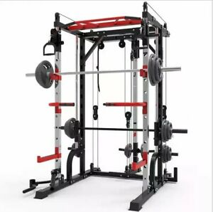 Smith Machine Weight Bench Dip Frame Squat Power Rack Full Body Home Gym Workout