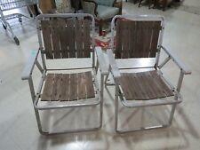 Pair of Vintage REDWOOD FOLDING CHAIR Aluminum lawn Metal Wooden