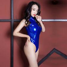 Women Latex Wet Look Catsuit Sleeveless Zipper Shiny Jumpsuit Bodysuit Clubwear