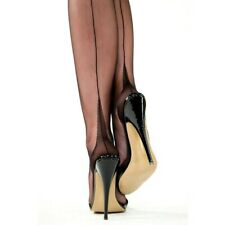 9.5 Gio Imperfects-Fully fashioned bas talon cubain-noir Taille 9 10