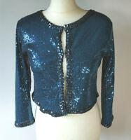 Blue Sequin Beaded Crop Jacket Bolero Shrug Evening Party Xmas NYE Size Small