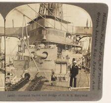 WWI Stereoview card:  Forward Turret and Bridge of U.S.S. Maryland (Battleship)
