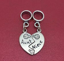 Aunt Niece Charm solid 925 Sterling Silver Break apart Share European auntie New