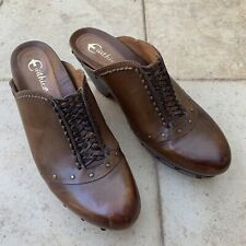 """EARTHIES brown leather mules 