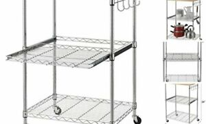 3-Tier Wire Rolling Kitchen Cart, Food Service Cart, Microwave Stand, Oak