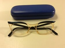 Ladies Cat Eye Glasses, Blue/Sheer Orange/Yellow, with blue box, Vintage/Retro